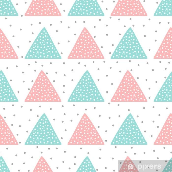 Naklejka na drzwi Uroczy wzór dla dzieci. trójkąty i okrągłe plamki. rysowane ręcznie. - Zasoby graficzne