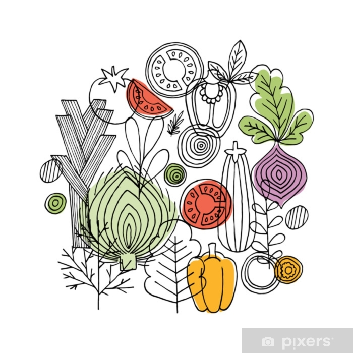 Vegetables Round Composition Linear Graphic Vegetables Background Scandinavian Style Healthy Food Vector Illustration Poster Pixers We Live To Change