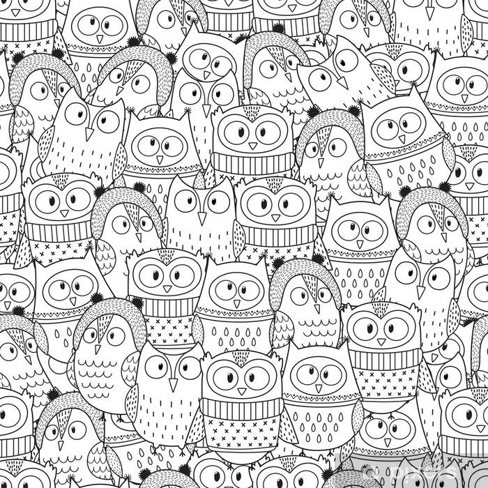 Baykuş Kış Boyama Kitabı Için Dikişsiz Desen Siyah Beyaz Arka Plan
