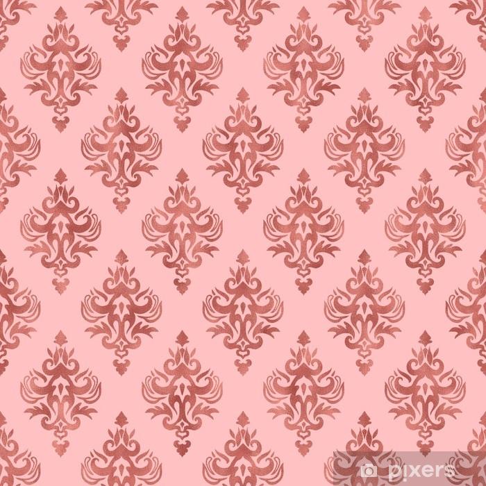 Papier Peint Texture Feuille Rose Et Or Rose Motif Damasse Sans