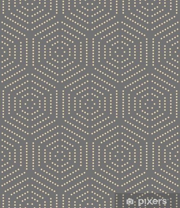Adesivo Pixerstick Ornamento di vettore ripetuto geometrico con elementi punteggiati dorati esagonali. ornamento moderno geometrico. modello moderno astratto senza soluzione di continuità - Risorse Grafiche