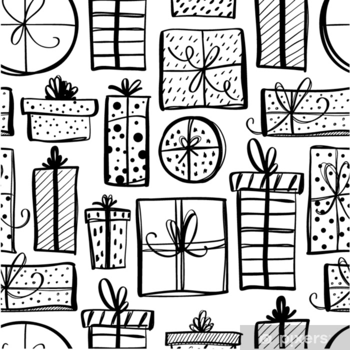 Seamless pattern with hand drawn gift boxes. Pixerstick Sticker - Culture and Religion