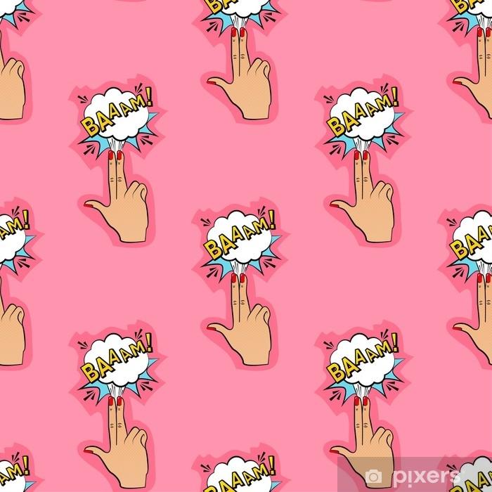 Naklejka Pixerstick Streszczenie bezszwowe szałowy wzór dla dziewcząt, chłopców, ubrań. twórczy wektor szałowy tło z palca pistoletem, chmura. zabawna tapeta z wzorem na tekstylia i tkaniny. moda w stylu pop-art. - Zasoby graficzne