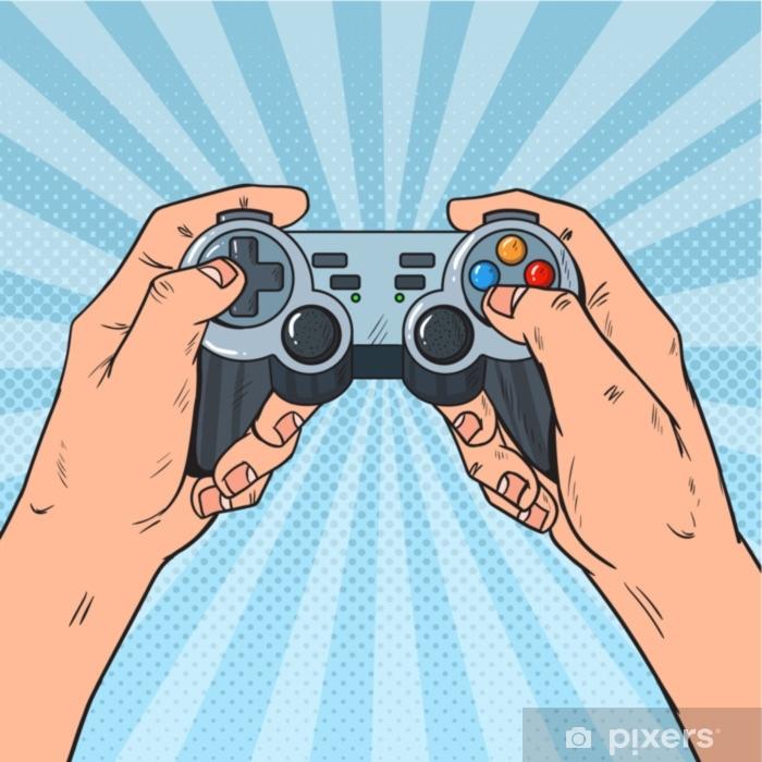 Vinyl Fotobehang Pop-art man met gamepad. mannelijke handen met joystick console. videogame. vectorillustratie - Hobby's en Vrije tijd