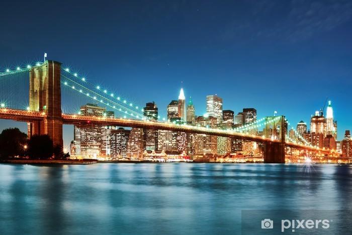 Sticker Pixerstick Brooklyn bridge at night -