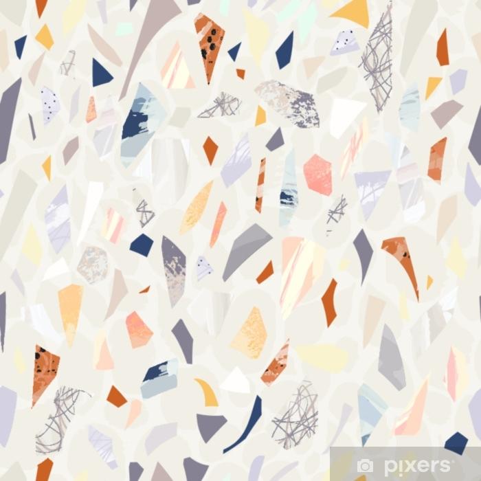 Adesivo per Vetri & Finestre Seamless pattern di terrazzo. colori vibranti. forme strutturate. coriandoli. disegno disegnato a mano. - Risorse Grafiche
