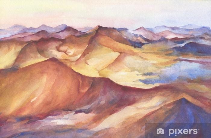 Fototapeta samoprzylepna Wielokolorowe górski krajobraz szczyty na zachód słońca na panoramiczny widok. piękne skały i żółta piaszczysta pustynia, wydma ogromnych rozmiarów. akwarela malarstwo ilustracja na białym tle. - Krajobrazy