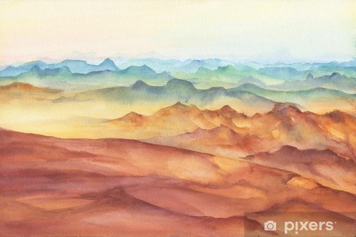Fototapeta winylowa Szczyt górski krajobraz na zachód słońca na panoramicznym widoku. piękne skały i żółta piaszczysta pustynia, wydma ogromnych rozmiarów. akwarela ręcznie rysowane malarstwo ilustracja na białym tle. - Krajobrazy