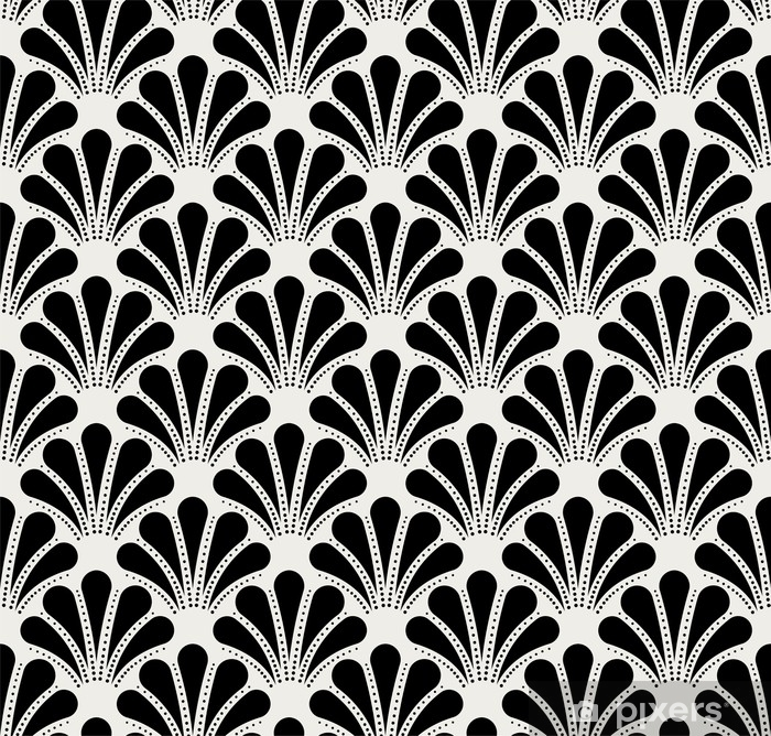 Vintage Art Deco Seamless Pattern. Geometric shell decorative texture. Poster - Graphic Resources
