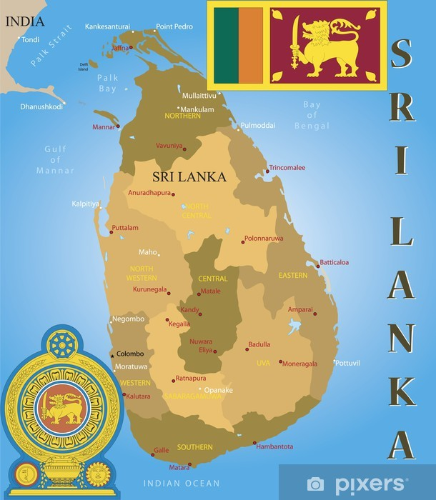 Sri Lanka Kartta Lippu Ja Takki Tapetti Pixers Elamme