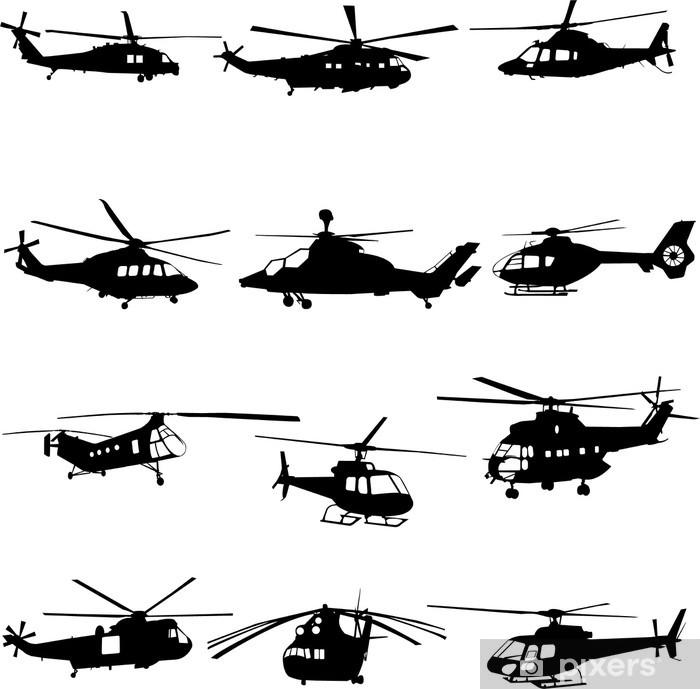 Sticker Pixerstick Collection de vecteur d'hélicoptère - Dans les airs