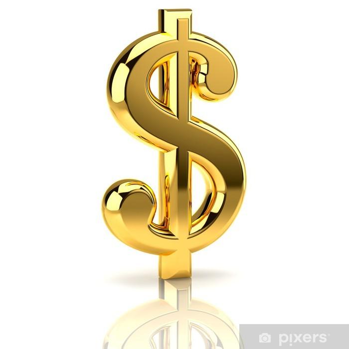 Plakát Zlatý znak dolaru na bílém - Finance