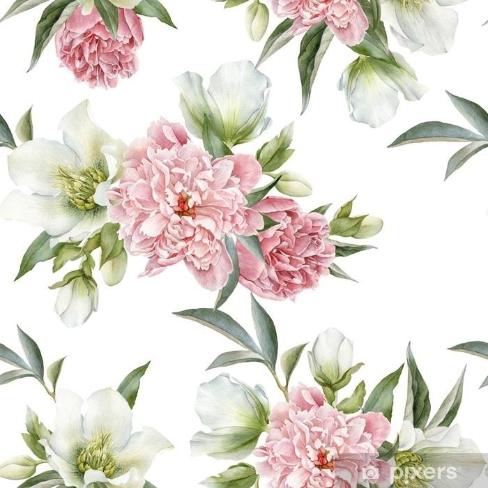 Vinyl Fotobehang Naadloze bloemmotief met pioenrozen en Helleborus - Bloemen en Planten