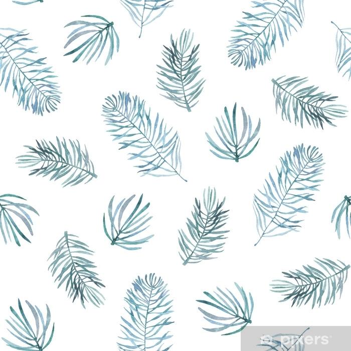 Sticker Pixerstick Modèle sans couture aquarelle avec des branches d'épinette. - Plantes et fleurs