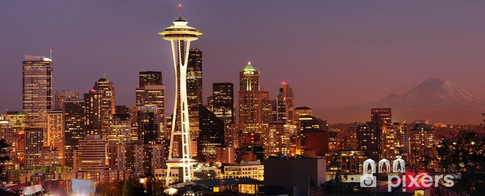 Seattle skyline and Mount Rainier panorama Vinyl Wall Mural - American Cities
