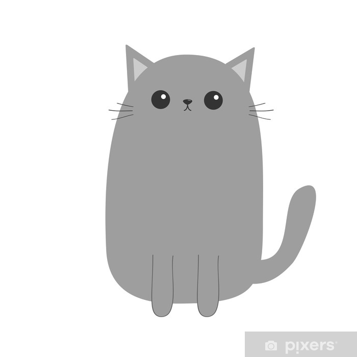 Gray Cat Kitten Cute Cartoon Kitty Character Kawaii Animal Funny Face With Eyes Moustaches Nose Ears Love Greeting Card Flat Design White Background Isolated Poster Pixers We Live To Change