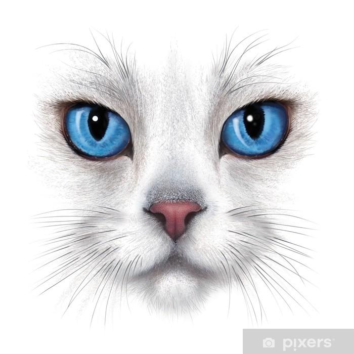 Carta Da Parati Ritratto Di Disegno A Mano Di Gatto Bianco Pixers