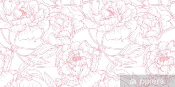 Vinyl Fotobehang Naadloze patroon, hand getrokken schets roze pioenroos bloemen op witte achtergrond - Bloemen en Planten