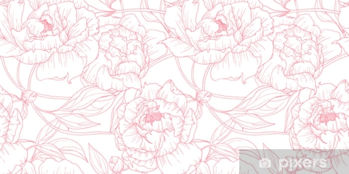 Fototapeta winylowa Wzór, ręcznie rysowane zarys różowe kwiaty piwonii na białym tle - Rośliny i kwiaty