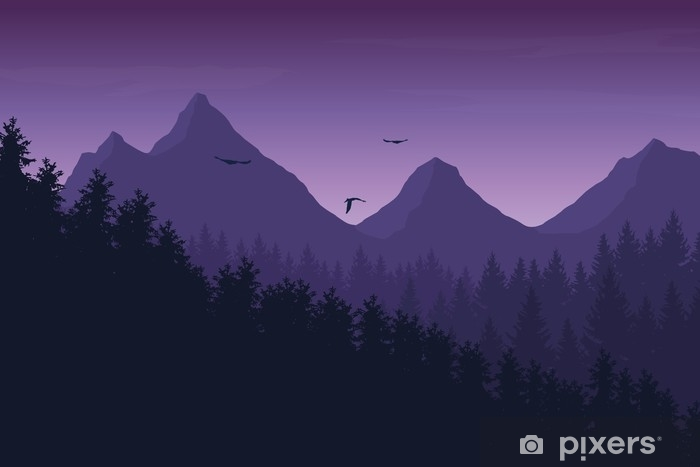 Vector Illustration Of Mountain Landscape With Forest