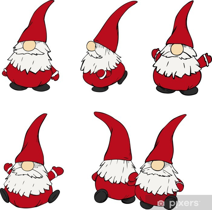 Aufkleber Weihnachten, Weihnachtsmann, Nikolaus, Santa, Wichtel ...