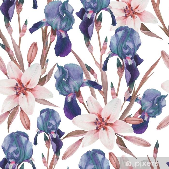 Pixerstick Sticker Naadloze bloemmotief met hand getrokken aquarel irissen en witte lelies in vintage stijl - Bloemen en Planten
