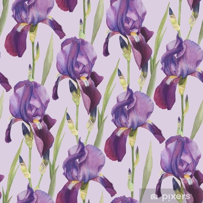 Pixerstick-klistremerke Floral sømløs mønster med håndtegnet akvarell violet iris - Planter og Blomster