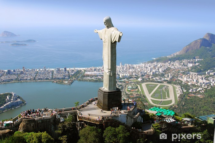 Fotomural Estándar Vista aérea del monumento del Cristo Redentor y de Río de Janeiro - Brasil