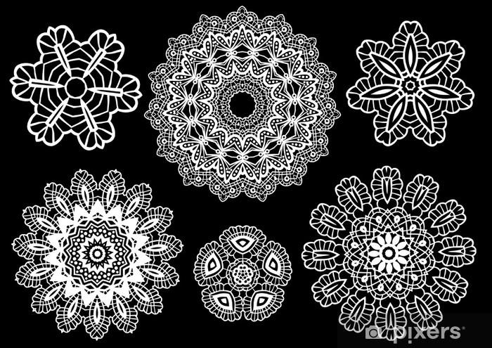Naklejka Pixerstick Delikatne koronkowe serwetki, wzór wektor - Moda