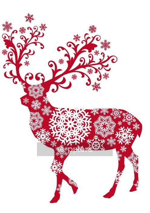 Christmas deer with ornaments and snowflakes, vector Wall Decal - Religious holidays