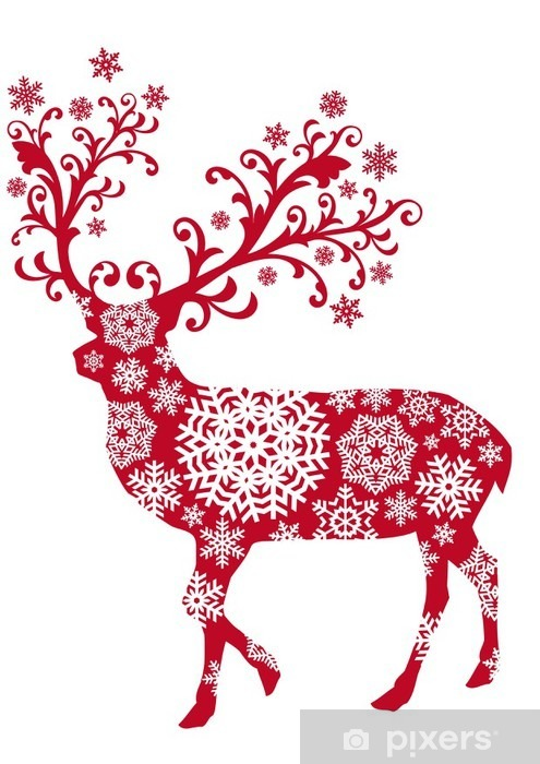 Vinyl-Fototapete Weihnachten Hirsch mit Ornamenten und Schneeflocken, Vektor- - Feste