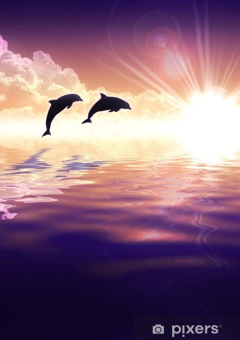 Fotobehang Dolfijn En Zonsondergang Pixers 174 We Leven