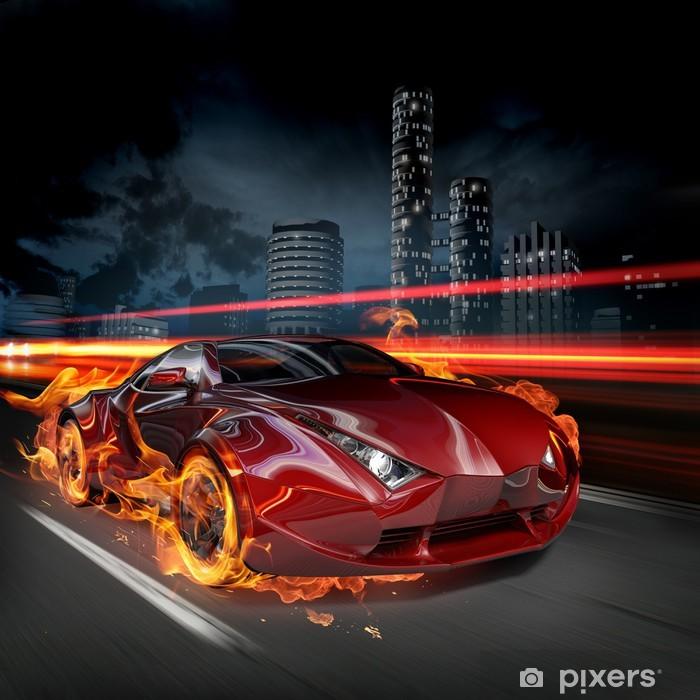 Vinil Duvar Resmi Sıcak araba -