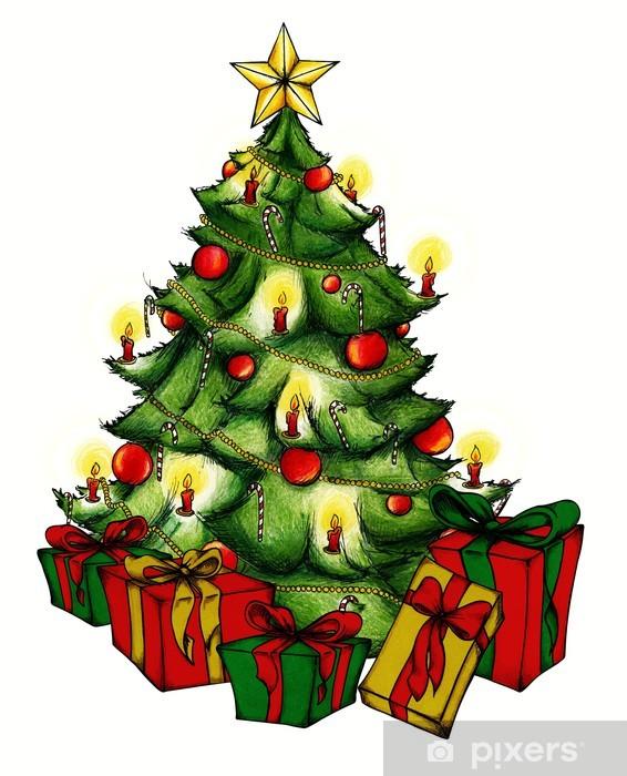 Weihnachtsbaum Weihnachten.Aufkleber Weihnachtsbaum Christbaum Weihnachten Heiligabend Pixerstick