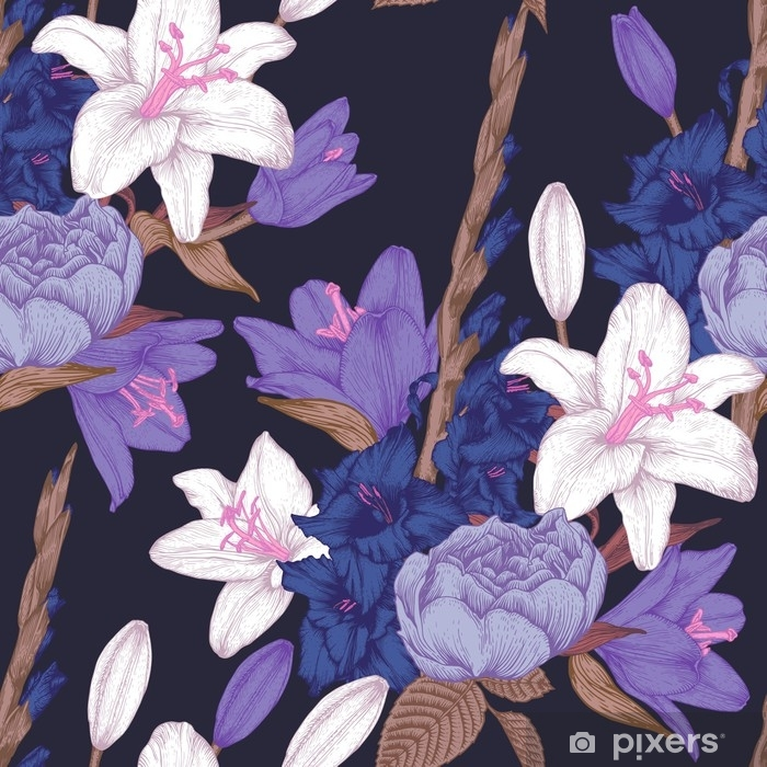 Fototapet av vinyl Vektor blomstret sømløst mønster med hånddrakkede gladiolus blomster, liljer og roser i vintage stil - Planter og Blomster