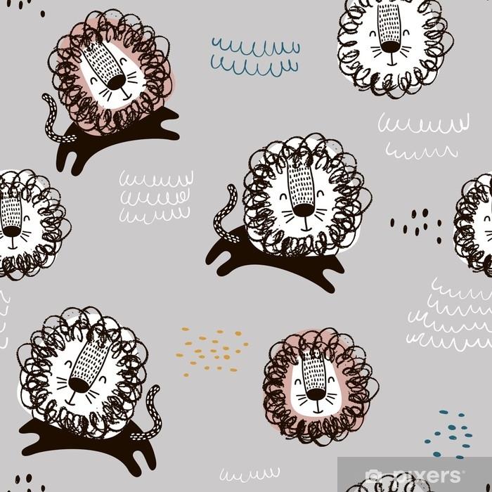 944e97d11 Fototapet av vinyl Barnlig sømløs mønster med håndtrukne løver. trendy  skandinavisk vektor bakgrunn. perfekt for barneklær, stoff, tekstil, ...