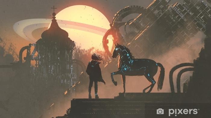 Fototapeta winylowa Człowiek i jego zmechanizowany koń stojący na dachu budynku w futurystycznej planecie, cyfrowy styl, malarstwo ilustracja - Krajobrazy