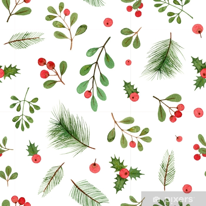 Watercolor Christmas Plants And Berries Seamless Pattern On A