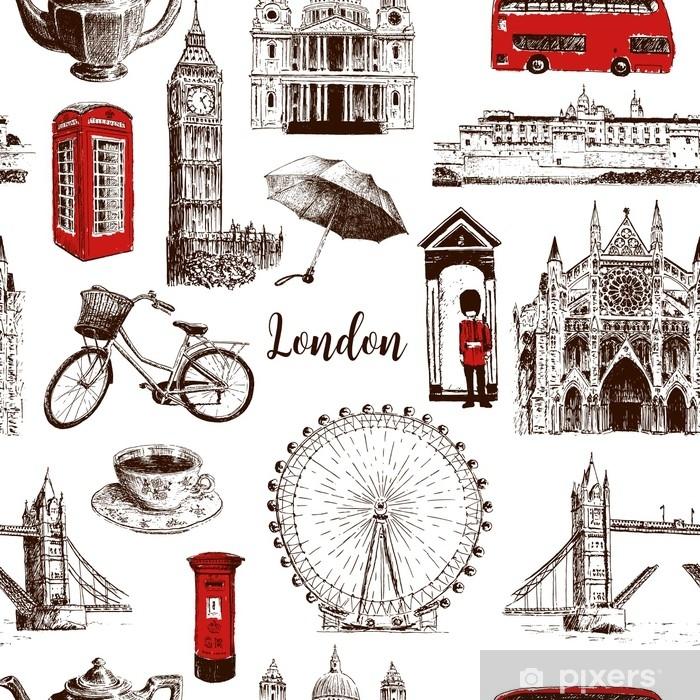 London architectural symbols hand drawn vector seamless pattern sketch  Big  Ben, Tower Bridge, red bus, mail box, call box, guardsman Wall Mural -