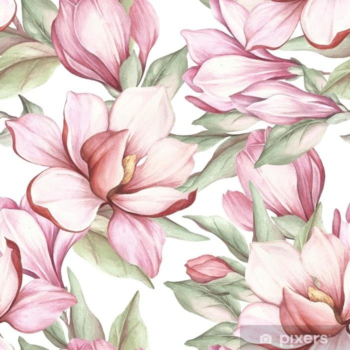 Adesivo Pixerstick Modello senza saldatura con magnolia in fiore. illustrazione ad acquerello - Piante & Fiori