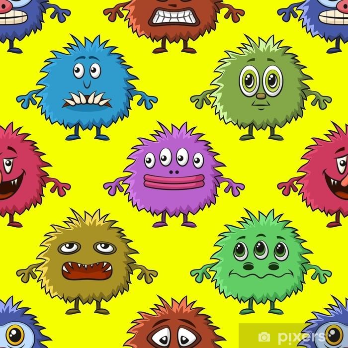 Plakat Bezszwowe tło dla swojego projektu z różnych potworów kreskówek, kolorowy wzór płytki z słodkie zabawne postacie. wektor - Zasoby graficzne