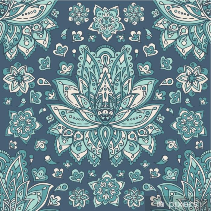 Papier peint vinyle Illustration vectorielle symbole de la main hamsa indienne modèle sans couture florale vintage avec des fleurs de fantaisie. - Ressources graphiques