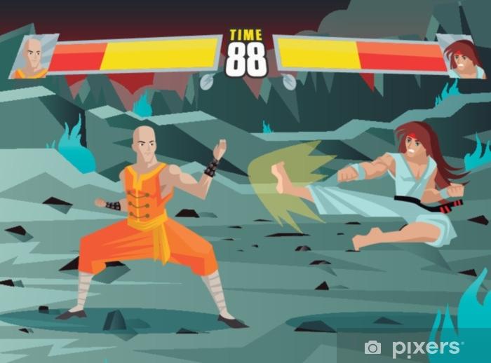 Fototapeta winylowa Walczący z ekranem gry wideo - Technologia
