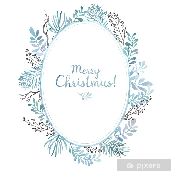 Christmas Card Frame.Merry Christmas Card Watercolor Oval Frame Of Different Branches Winter Mood Wall Mural Vinyl