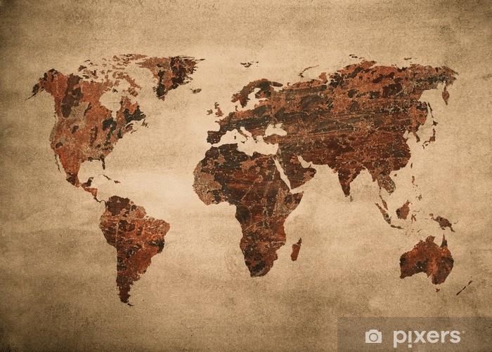 Koc pluszowy Mapa grunge świata. - Zasoby graficzne