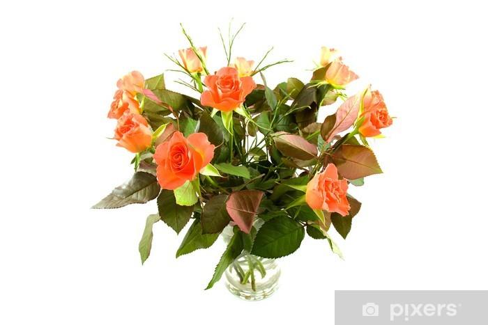 Papier peint vinyle Bouquet de roses orange sur fond blanc - Fleurs
