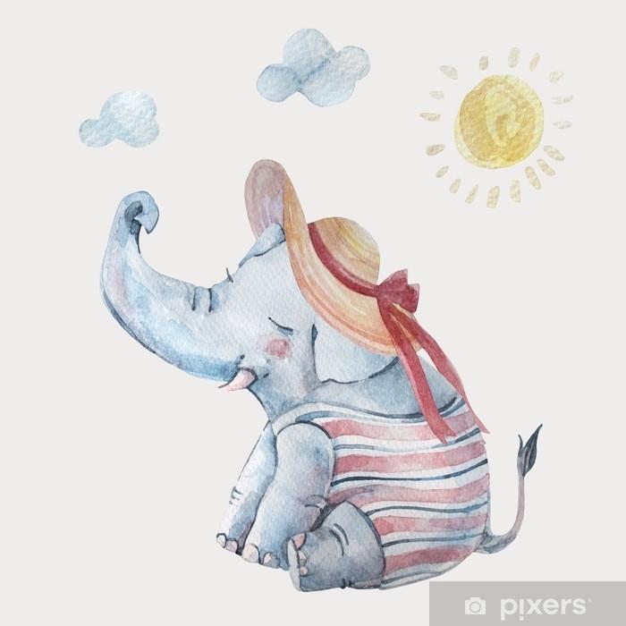 Papier peint vinyle Joli bébé éléphant en swimsuite et grand chapeau à larges bords sous le soleil isolé sur fond - Animaux