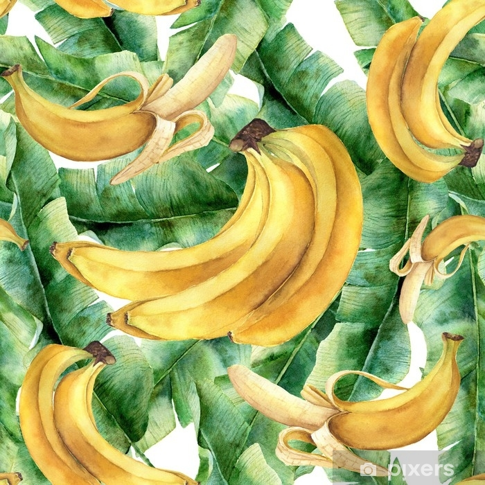 Watercolor banana tropical pattern. Hand painted tropical fruit ...