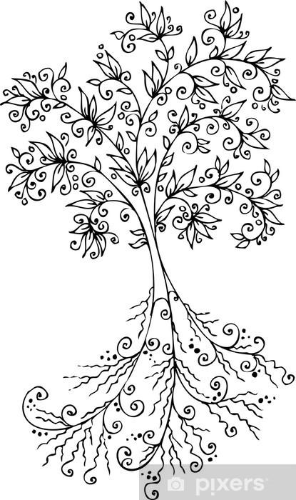 Naklejka Pixerstick Drzewo Vignette. Eau-forte. - Rośliny