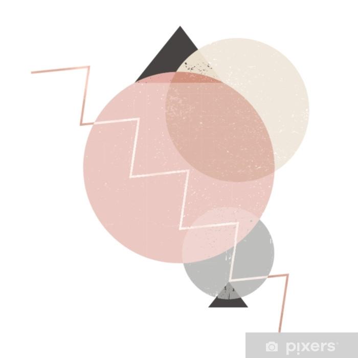 Sticker Pixerstick Composition abstraite de rondes décoratives et triangles avec texture grunge et lignes à la mode rose doré. beau fond pour tout type de design. formes géométriques - Ressources graphiques